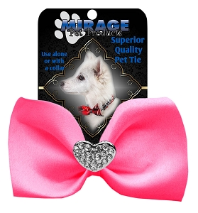 Crystal Heart Widget Pet Bowtie Hot Pink